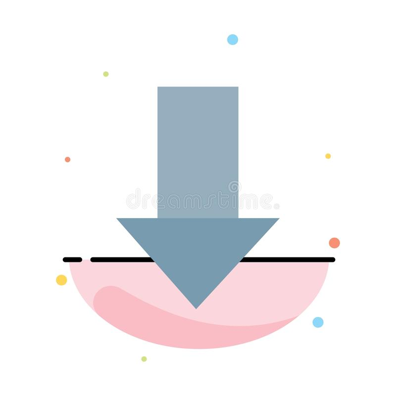 Pfeil unten hinunter Pfeil, Richtungs-Zusammenfassungs-flache Farbikonen-Schablone lizenzfreie abbildung