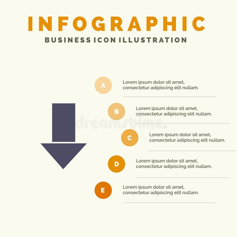 Pfeil unten hinunter Pfeil, Schritt-Darstellungs-Hintergrund Richtungs-fester Ikone Infographics 5 vektor abbildung
