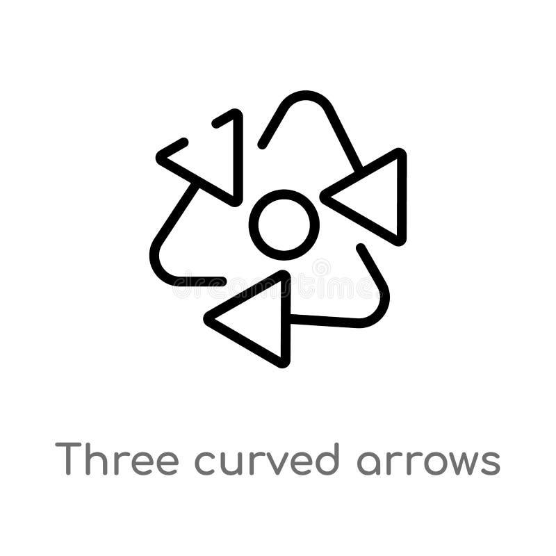 Pfeil-Vektorikone des Entwurfs drei gebogene lokalisiertes schwarzes einfaches Linienelementillustration vom Pfeilkonzept Editabl lizenzfreie abbildung