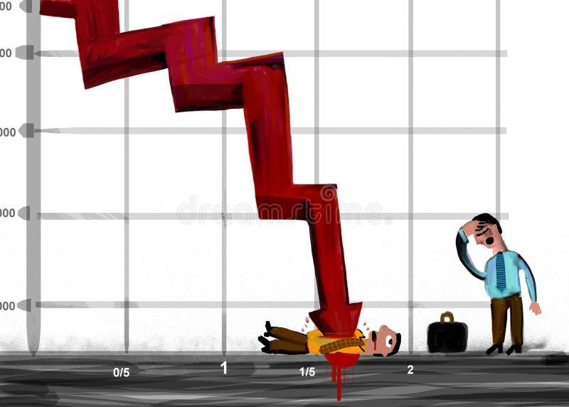 Pfeil von Statistiken beendet einen Geschäftsmann stock abbildung