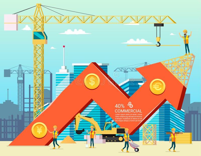 Pfeil-Vorrat-Handels-Diagramm des Wohnungs-Kosten-Bau-Neubaus in der Stadt Vektor Illsustration von Karikatur-Arbeitskraft-Charak stock abbildung