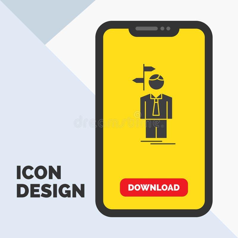 Pfeil, Wahl, wählen, Entscheidung, Richtung Glyph-Ikone im Mobile für Download-Seite Gelber Hintergrund vektor abbildung