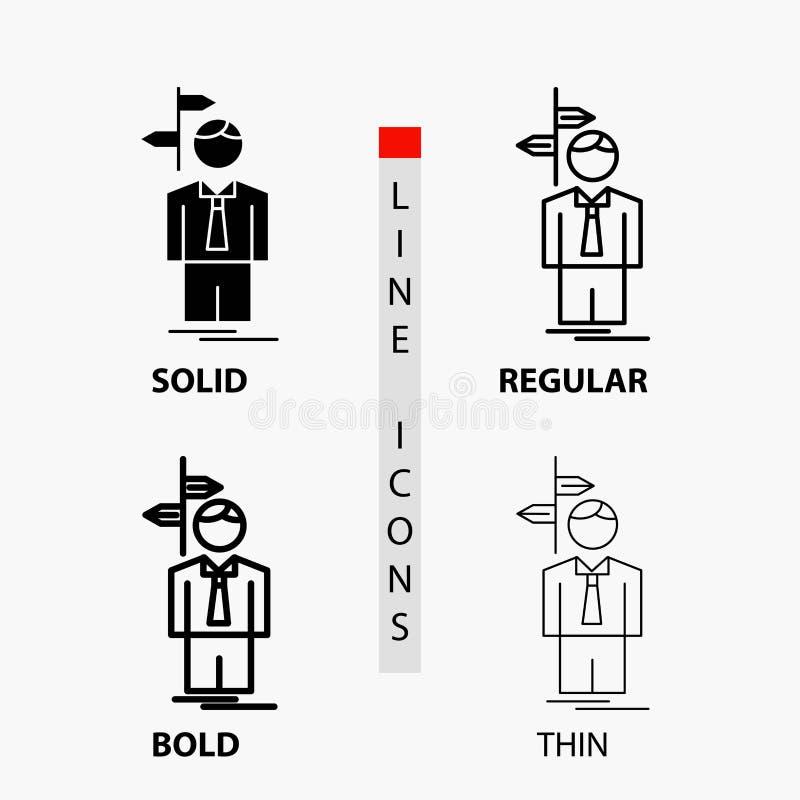 Pfeil, Wahl, wählen, Entscheidung, Richtung Ikone in der dünnen, regelmäßigen, mutigen Linie und in der Glyph-Art Auch im corel a stock abbildung