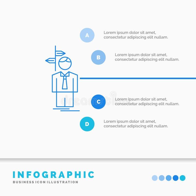 Pfeil, Wahl, wählen, Entscheidung, Richtung Infographics-Schablone für Website und Darstellung Linie infographic Art der blauen I lizenzfreie abbildung