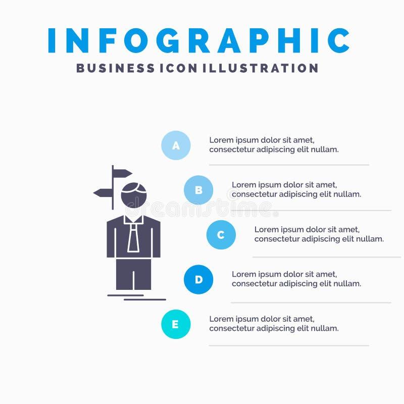 Pfeil, Wahl, w?hlen, Entscheidung, Richtung Infographics-Schablone f?r Website und Darstellung Graue Ikone des GLyph mit Blau lizenzfreie abbildung