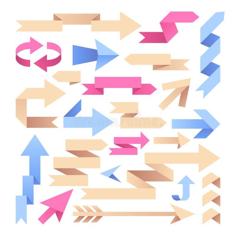 Pfeilbänder Origamipapierpfeile Farbweinlesepfeilspitzen-Vektorsatz lizenzfreie abbildung