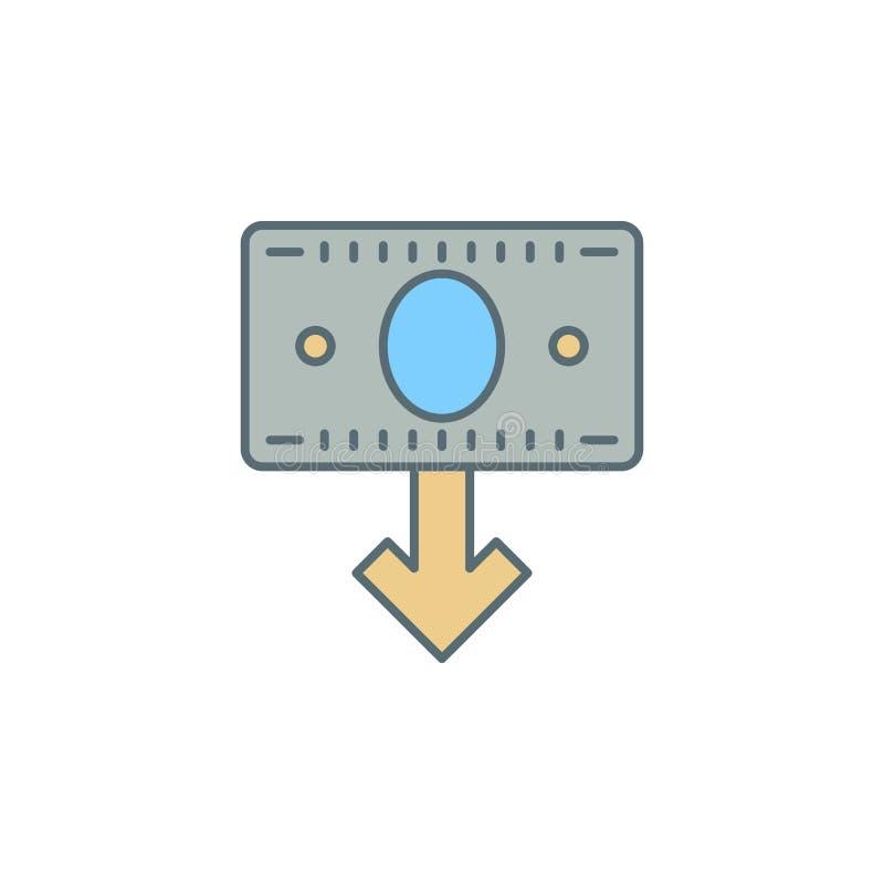 Pfeildämmerungs-Artlinie Ikone der Geldanmerkung unten Element der Bankwesenikone für bewegliche Konzept und Netz apps Dämmerungs vektor abbildung