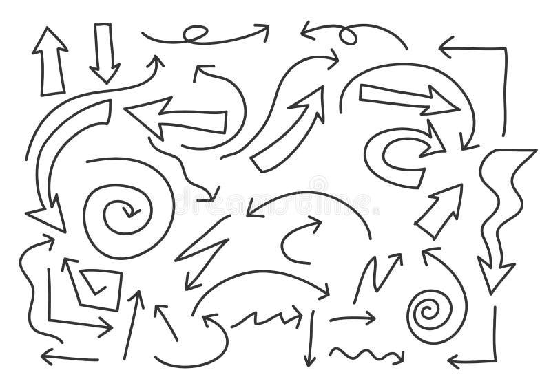 Pfeile übergeben gezogener Linie Kunstvektor gesetzte Illustration vektor abbildung