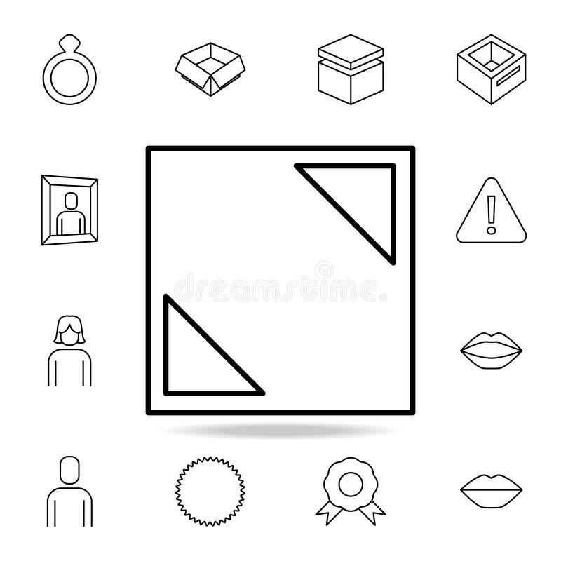 Pfeile auf den Ecken der quadratischen Ikone Ausführlicher Satz einfache Ikonen Erstklassiges Grafikdesign Eine der Sammlungsikon vektor abbildung