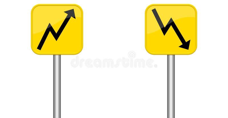 Pfeile auf und ab auf yelow Zeichen stock abbildung