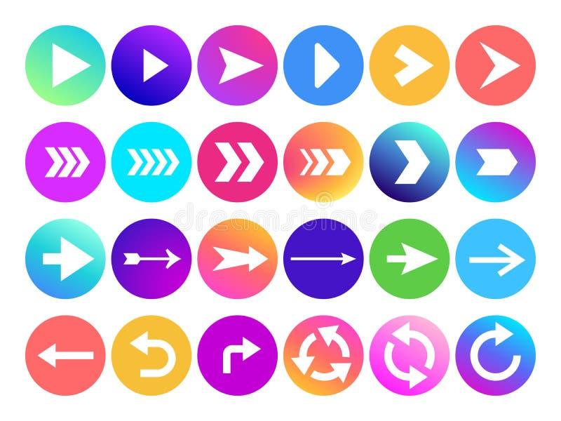 Pfeile in der Kreisikone Websitenavigations-Pfeilknopf, bunter Steigungsbuckel oder folgendes Zeichen und Netzpfeilspitze lizenzfreie abbildung