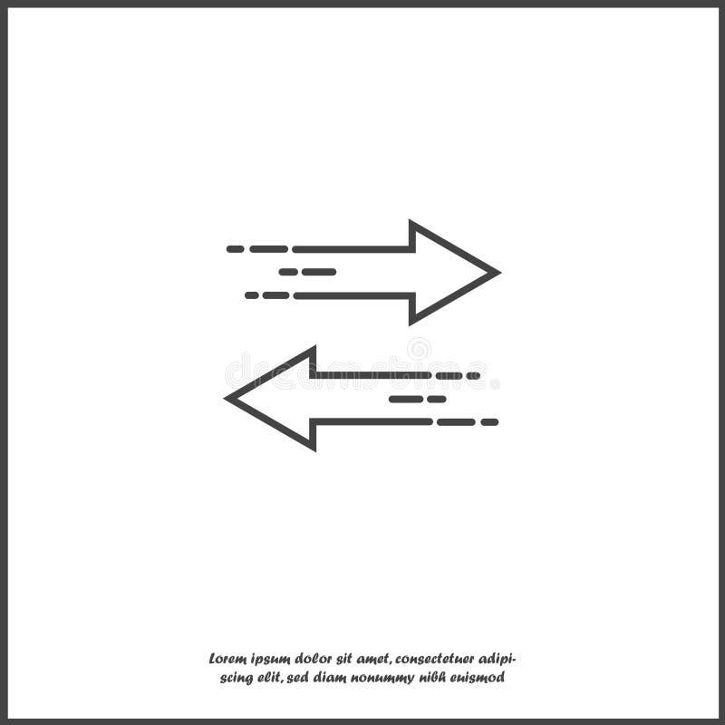 Pfeile der Vektorikone zwei, die in entgegengesetzte Richtungen zeigen Symbolaustausch auf wei?em lokalisiertem Hintergrund lizenzfreie abbildung