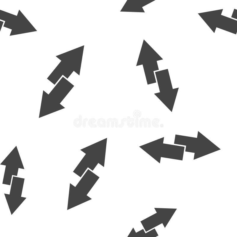 Pfeile des Vektorbildes zwei Rechter Pfeil und linker Pfeil Die Ikone zeigt der Richtung nahtloses Muster auf einem weißen Hinter vektor abbildung