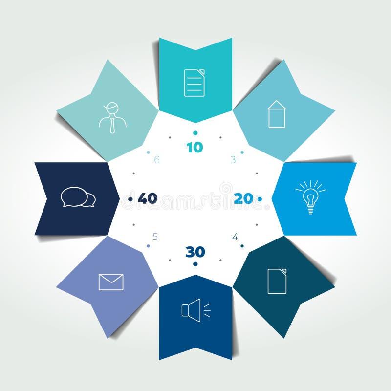 Pfeile des Wirtschaftskreises 3D Farbinfographic Diagramm kann für Darstellung, Zahlwahlen, Arbeitsflussplan, Zeitachse, diagra b vektor abbildung