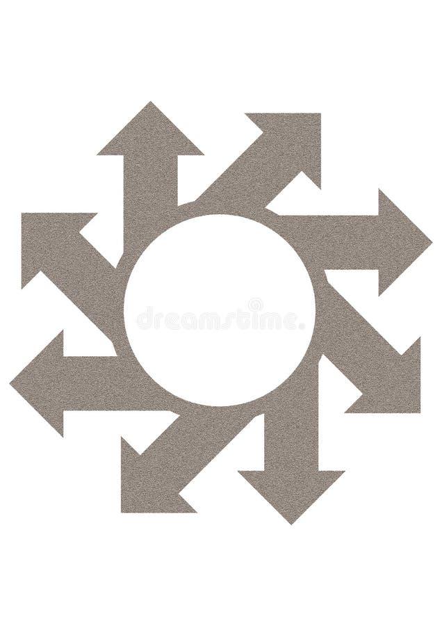 Pfeile, die einen Kreis umgeben stock abbildung
