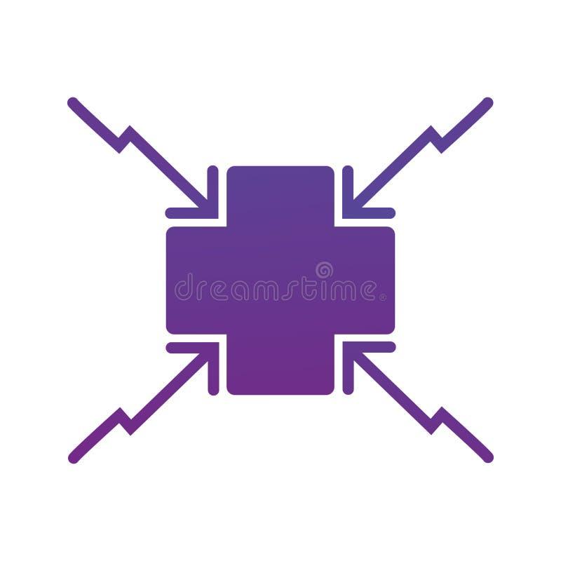 4 Pfeile, die zur Quermittelikone zielen Richtungspfeile Vektorabbildung getrennt auf weißem Hintergrund vektor abbildung