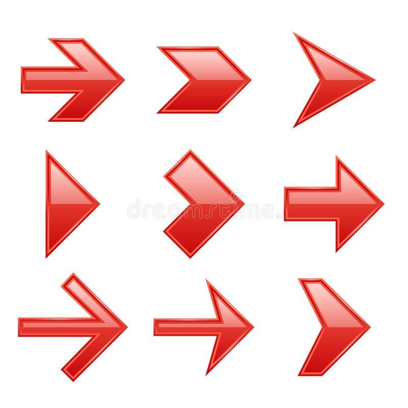 Pfeile eingestellt Pfeilikonen hinunter Richtung herauf Zeigerzeichenfolgende Rechts-Links-Cursor-Schwarznetzschnittstellen-Navig vektor abbildung
