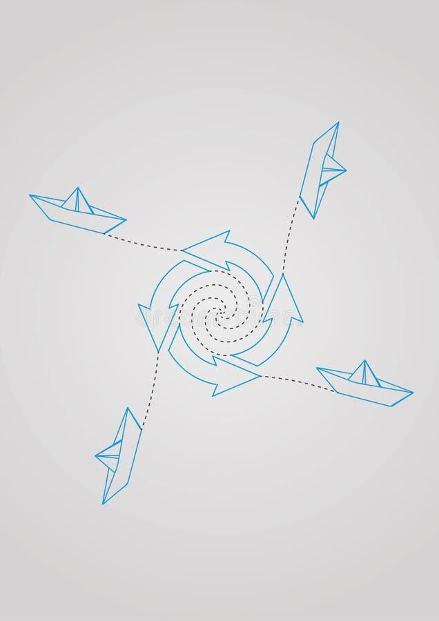 Pfeile im Kreis und in den Papierbooten lizenzfreie abbildung