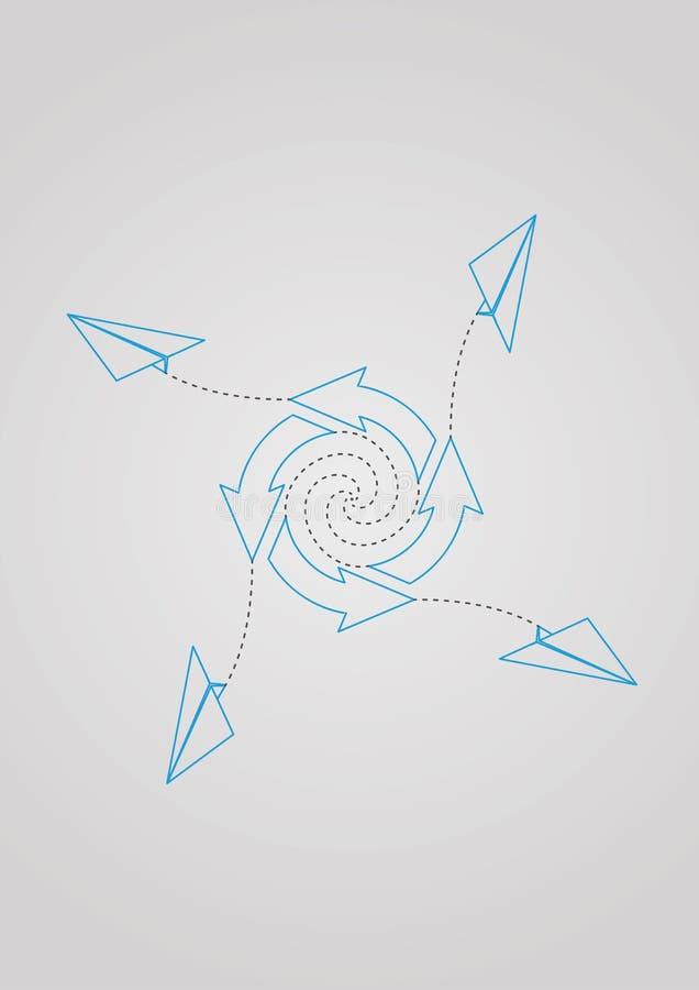 Pfeile im Kreis und in den Papierflächen lizenzfreie abbildung