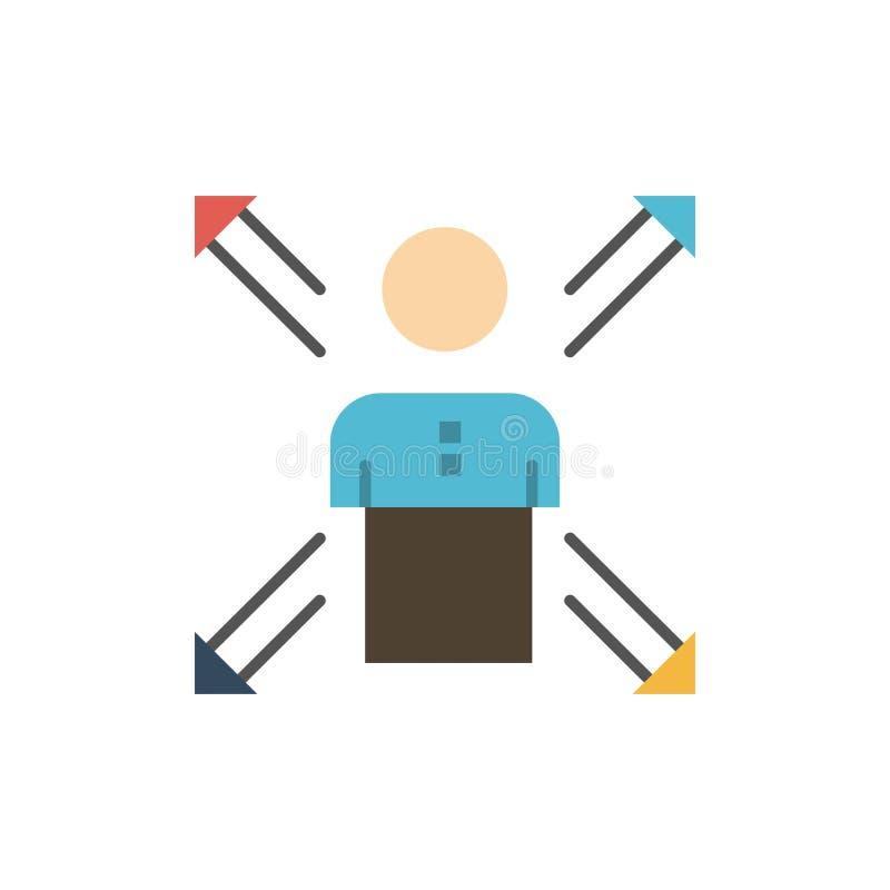 Pfeile, Karriere, Richtung, Angestellter, Mensch, Person, Weisen-flache Farbikone Vektorikonen-Fahne Schablone lizenzfreie abbildung