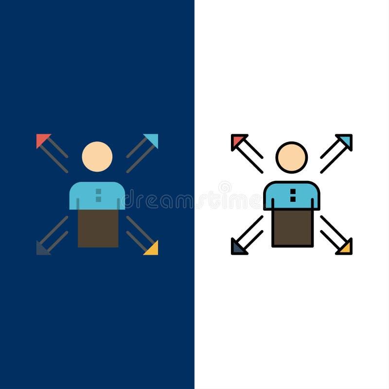 Pfeile, Karriere, Richtung, Angestellter, Mensch, Person, Weisen-Ikonen Ebene und Linie gefüllte Ikone stellten Vektor-blauen Hin stock abbildung