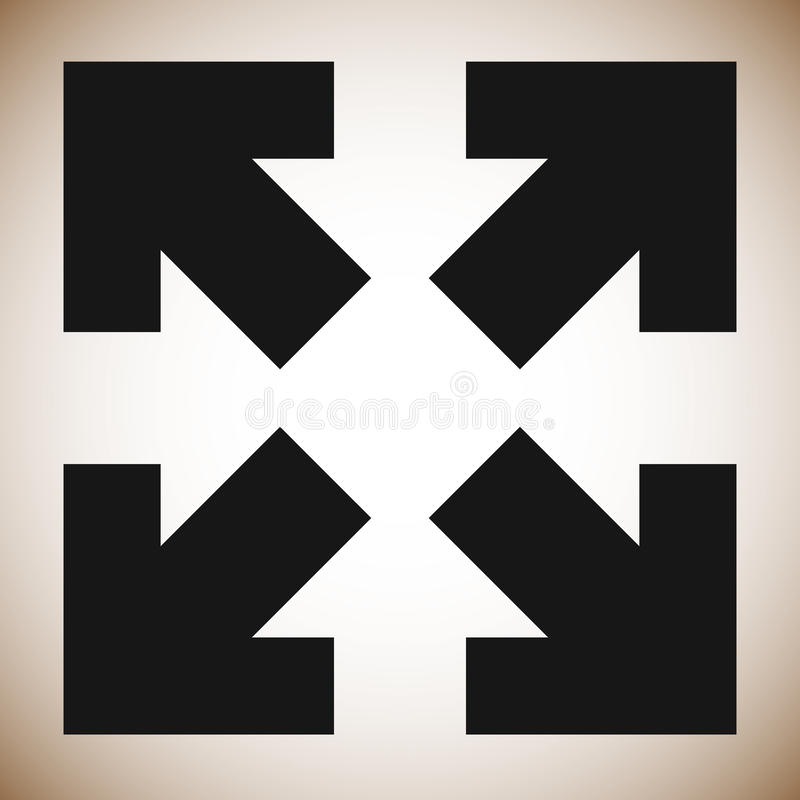 Pfeile in Richtung 4 - bestimmen Sie die Größe neu, richten Sie aus, maximieren Sie Konzeptikone stock abbildung