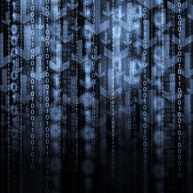 Pfeile und binär Code stockfoto