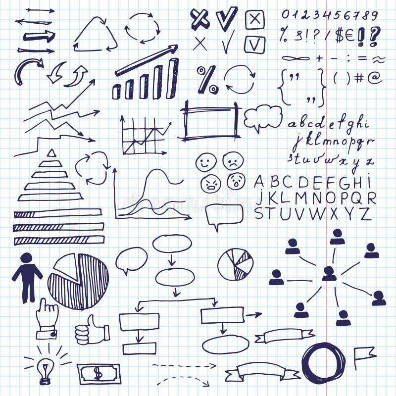 Pfeile und Geschäftselemente, Informationsgraphik Satz Gekritzelgeschäftsdiagramm-Informationsgraphikelemente auf einem Blatt in  stock abbildung