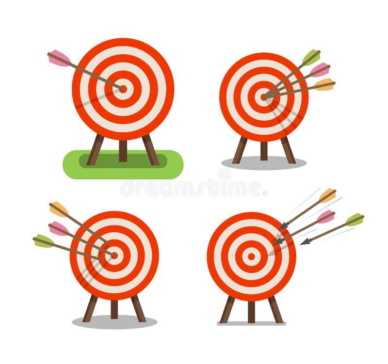 Pfeile und Ziel, die auf Stativ stehen Zweck, Ziel, Genauigkeitsikone Auch im corel abgehobenen Betrag vektor abbildung