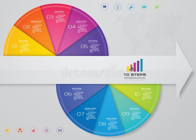 Pfeilfahne Infographic-Element mit 10 Schritten für Darstellung vektor abbildung