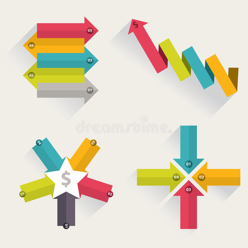 Pfeilgeschäft, das infographic Schablone vermarktet Auch im corel abgehobenen Betrag vektor abbildung