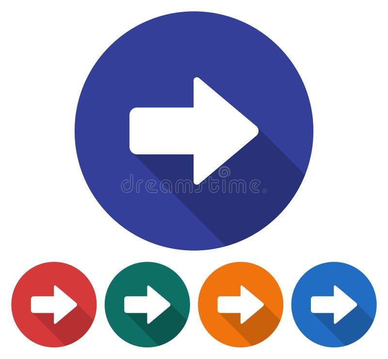 Pfeilikone der richtigen Richtung stock abbildung