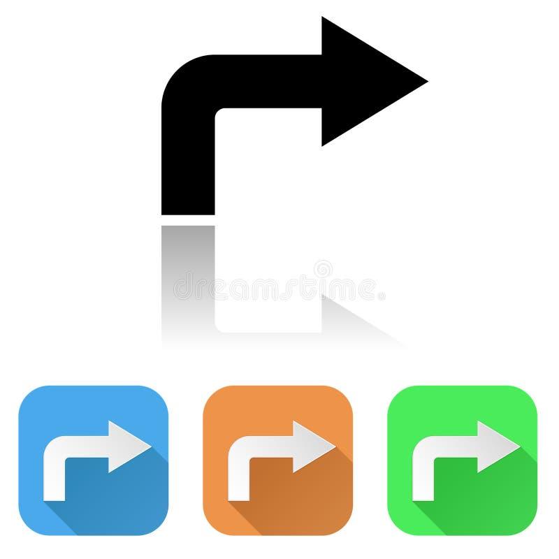 Pfeilikone Farbsatz von Pfeilzeichen der rechten Ecke lizenzfreie abbildung