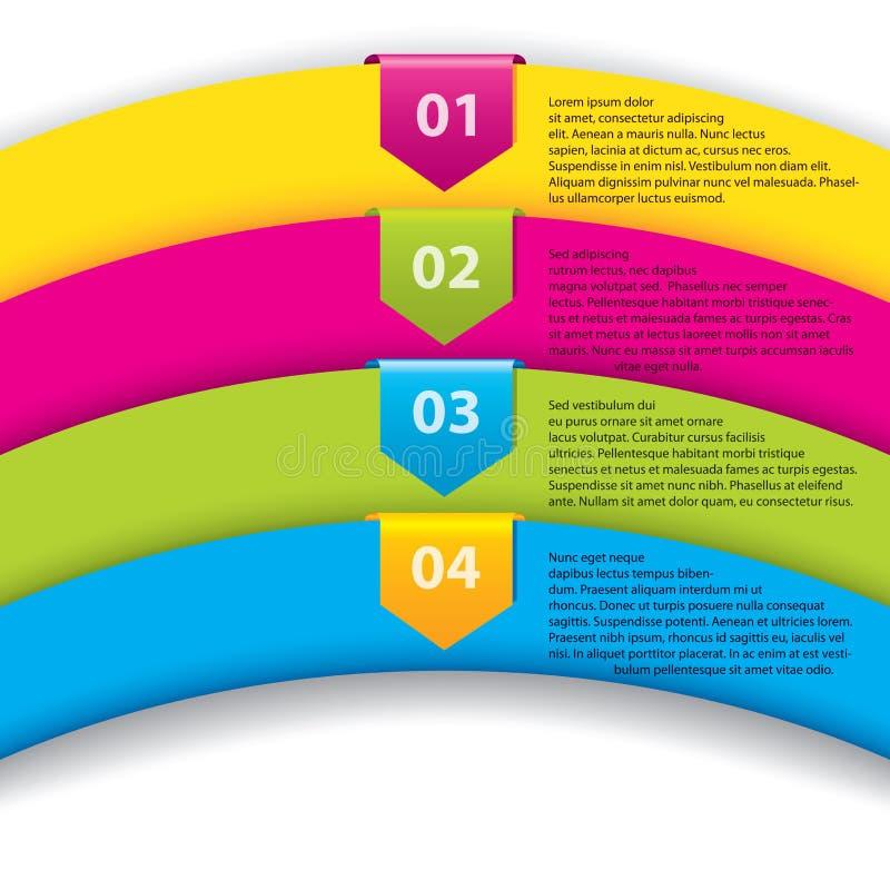 Pfeilkennsätze mit Zahlen auf Farbenfarbbändern stock abbildung