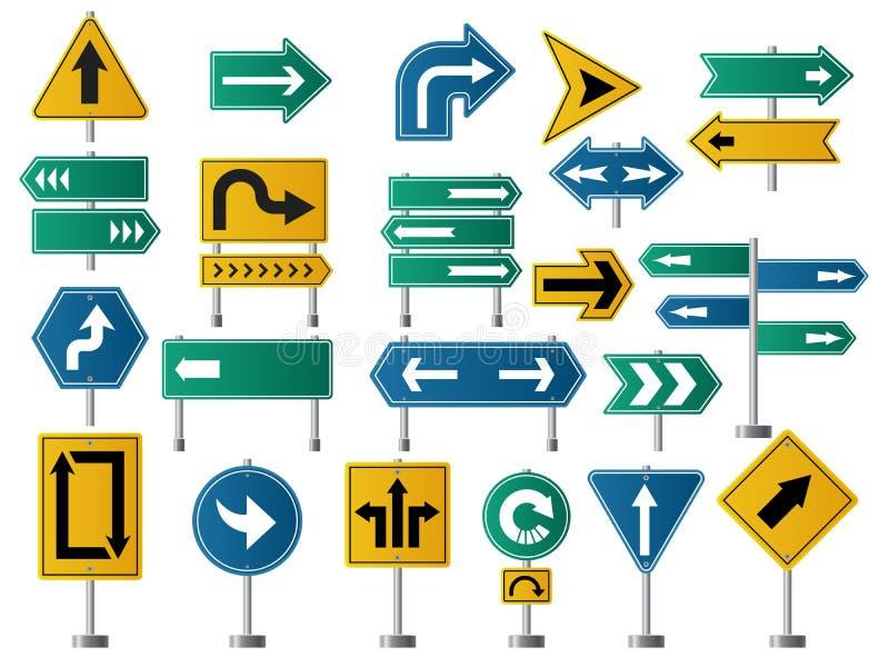 Pfeilrichtung Verkehrsschilder für Straßen- oder Landstraßenverkehrsnavigations-Vektorbilder von Pfeilen vektor abbildung