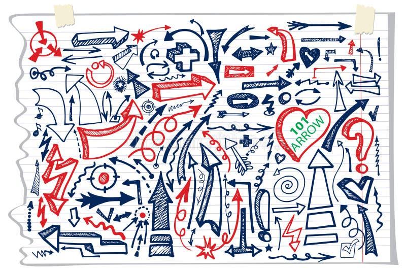 Pfeilsatz des Handabgehobenen betrages Flüchtiges Briefpapier des Gekritzels lizenzfreie abbildung