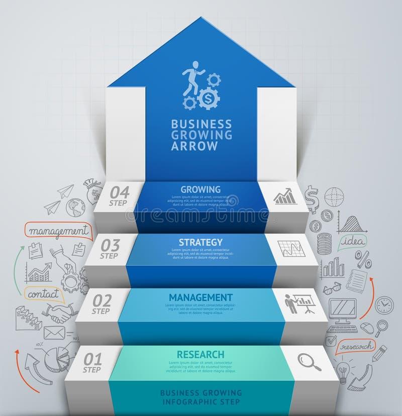 Pfeilschritt-Treppenhaus infographics des Geschäfts 3d