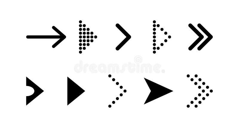 Pfeilvektorikone pfeil Pfeilvektorsammlung Gesetzte schwarze Vektorpfeilikone lizenzfreie abbildung