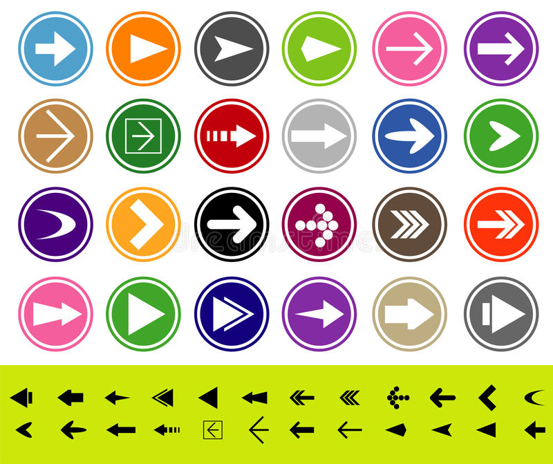 Pfeilzeichen-Ikonenset stock abbildung