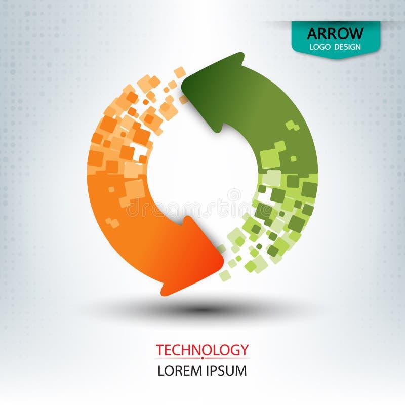 Pfeilzeichen und -logo entwerfen runde Form stock abbildung