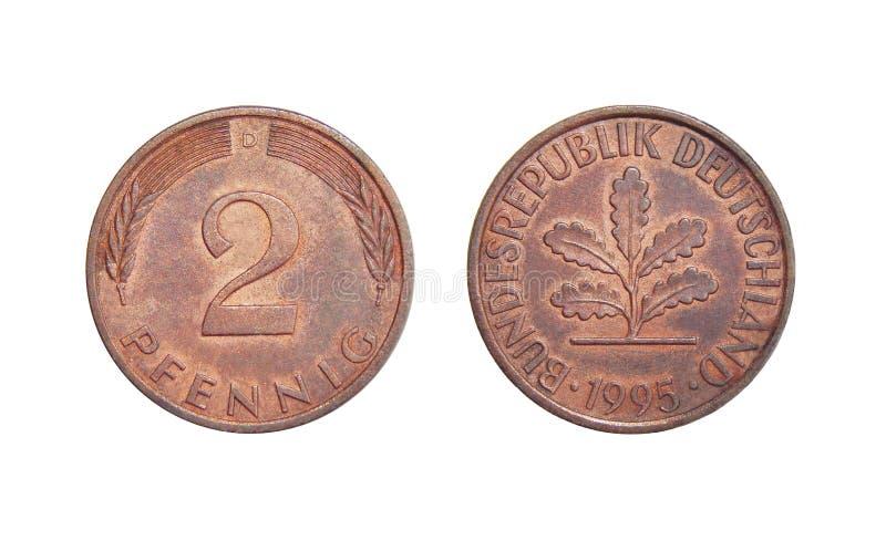 Pfennig Alemania de la moneda 2 fotos de archivo libres de regalías
