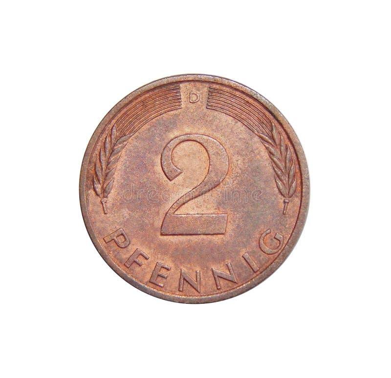Pfennig Alemania de la moneda 2 imágenes de archivo libres de regalías