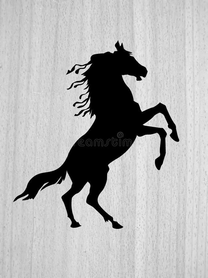 Pferd auf hölzernem Hintergrund lizenzfreie abbildung
