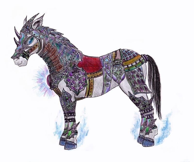 Pferd in der Rüstung für die Prinzessin lizenzfreie abbildung