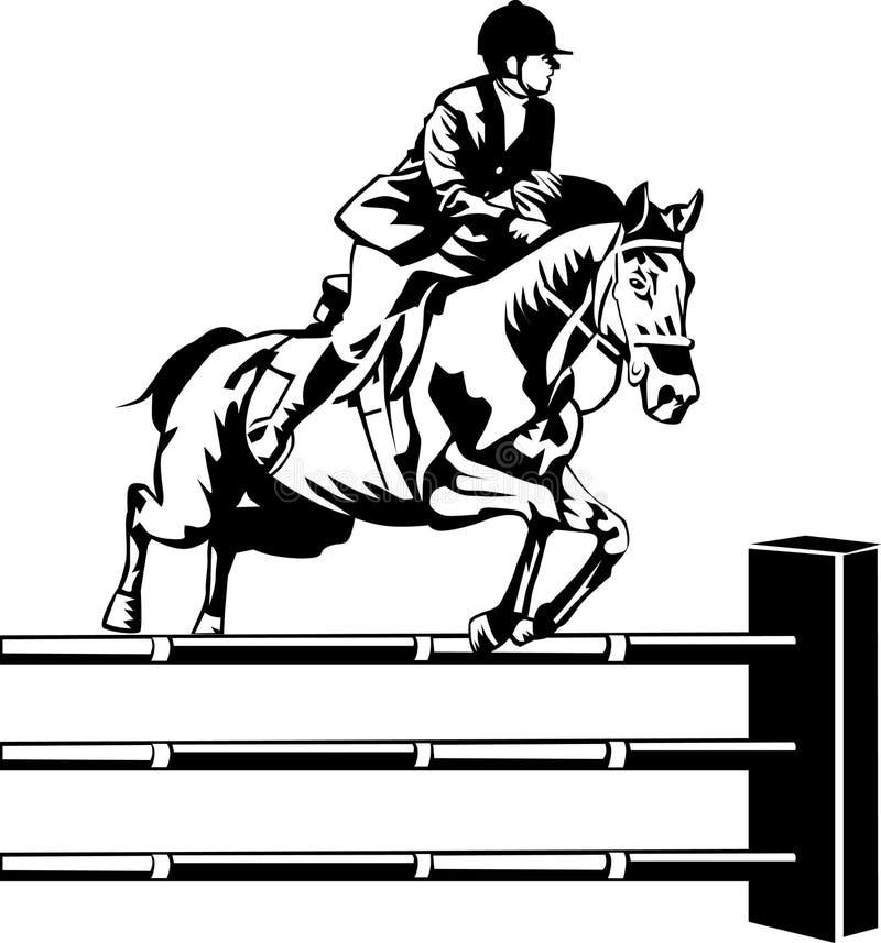 Pferd in einer springenden Konkurrenz lizenzfreie abbildung