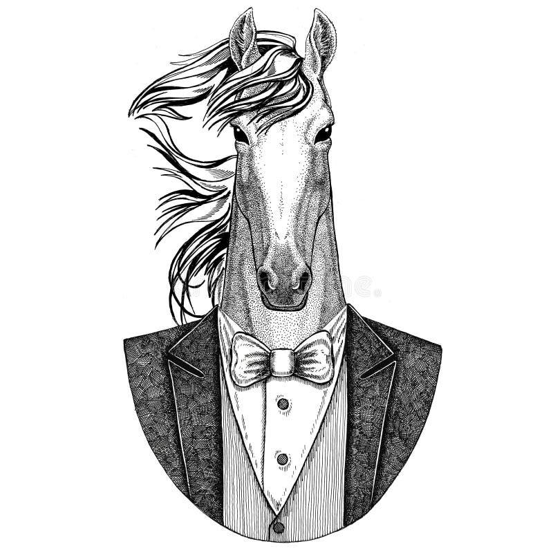 Pferd, hoss, Ritter, Ross, gezeichnete Illustration courser Hippies Tierhand für Tätowierung, Emblem, Ausweis, Logo, Flecken, t lizenzfreie abbildung