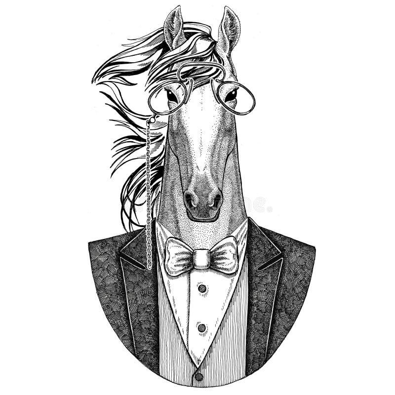 Pferd, hoss, Ritter, Ross, gezeichnete Illustration courser Hippies Tierhand für Tätowierung, Emblem, Ausweis, Logo, Flecken, t vektor abbildung