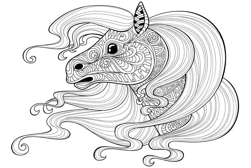 Pferd mit dem langen Haar Tätowierung oder erwachsene antistress Farbtonseite Schwarzweiss-Hand gezeichnetes Gekritzel für Malbuc vektor abbildung