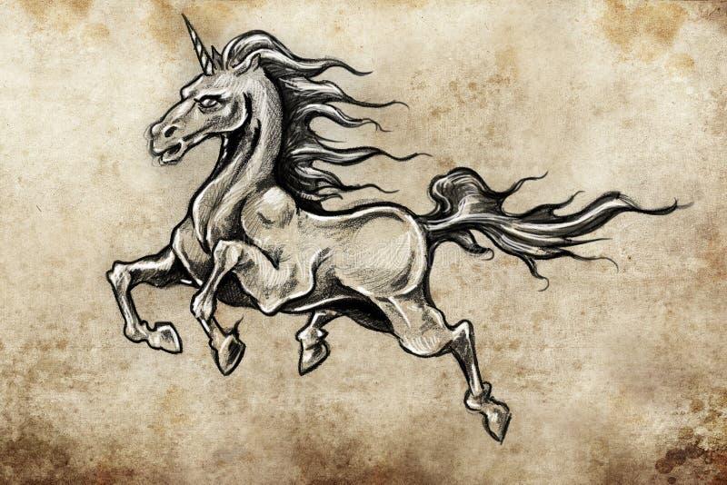 Pferd mit Flügeln, Einhorn, Tätowierungsskizze lizenzfreie abbildung