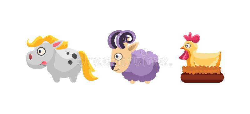 Pferd, Schafe und Henne, lustige KarikaturVieh, SpielBenutzerschnittstelle, Element für Mobile oder Computerspielvektor lizenzfreie abbildung